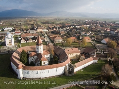 Aerial photos Prejmer fortified church, Brasov